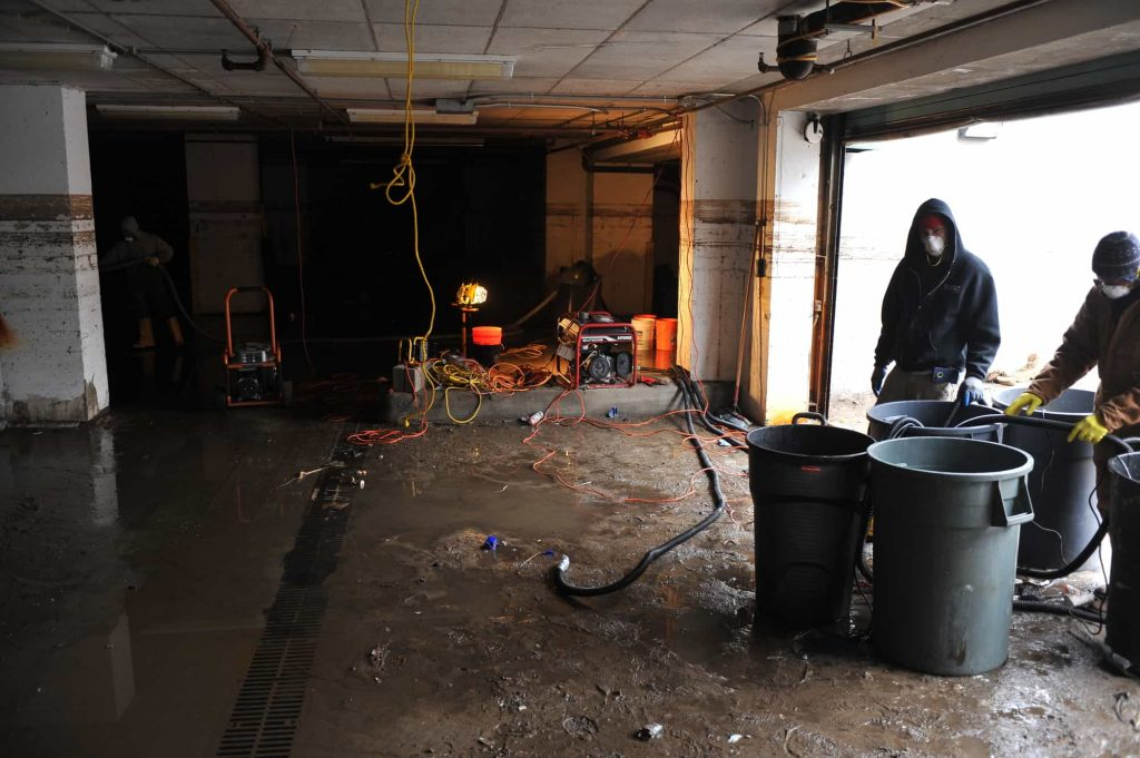 Water damage after flooded basement in Jersey City.